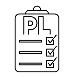 Clipboard with pl icon outline style vector