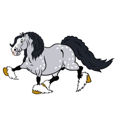 Running cartoon heavy horse vector