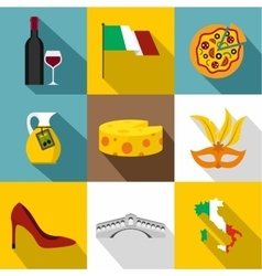 Holiday in italy icons set flat style vector