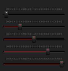 media slider bar black and red user interface vector image