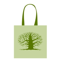 Green bag with big tree for your design vector image