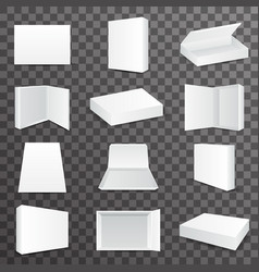 Package paper boxes front top isometric open vector