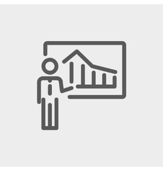 Businessman presenting with his chart thin line vector
