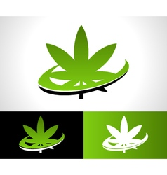Swoosh cannabis logo icon vector