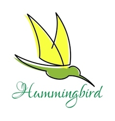 Green hummingbird with pointed wings vector