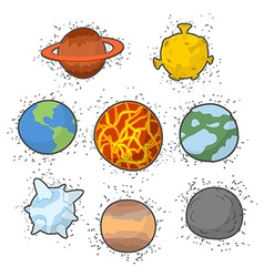 Set planets solar system funny cartoon planet- vector