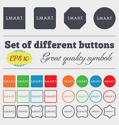 Smart sign icon press button big set of colorful vector