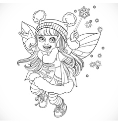 Cute little winter fairy girl in a blue coat with vector
