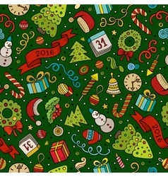 Cartoon doodles New Year seamless pattern vector image