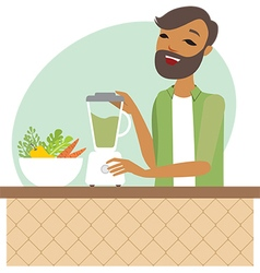 Young man preparing smoothie vector
