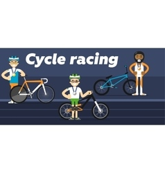 Cycling team award with gold silver and medals vector image