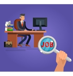Job search and human resources flat vector