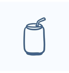 Soda can with drinking straw sketch icon vector
