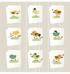 Set of cartoon cards vector