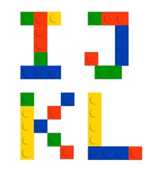 Alphabet set made of toy construction brick blocks vector image