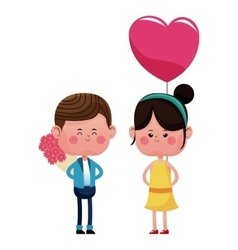 Boy with bouquetflowers and girl heart balloon vector