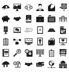 Business process icons set simple style vector
