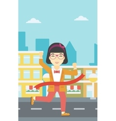 Business woman crossing finish line vector