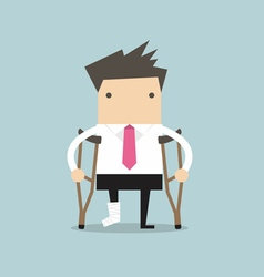 Businessman injured standing with crutches vector