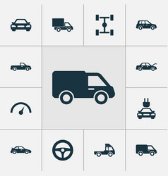 Car icons set collection of lorry plug auto and vector