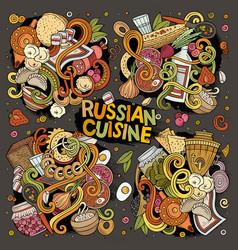 Cartoon set of russian food doodles designs vector
