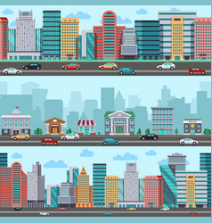 city street with cars and buildings vector image
