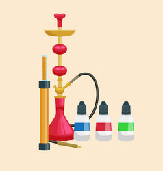 Colorful and modern red hookah isolated with vector