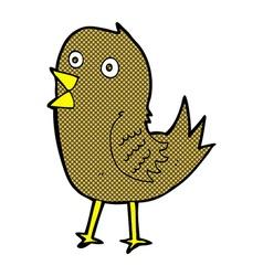 Comic cartoon tweeting bird vector