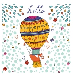 Cute hello card with hot air balloon and fox vector