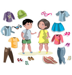 fashion costumes teenage wear set vector image