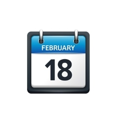 February 18 calendar icon vector