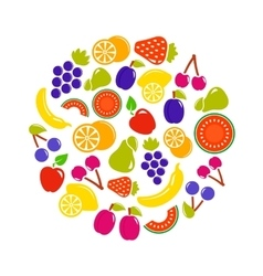 Fruit objects in round vector