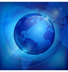 Globe on blue vector image vector image