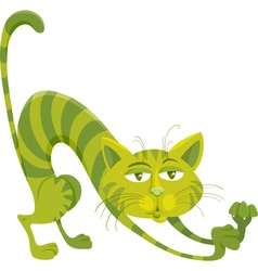 green cat character cartoon vector image vector image