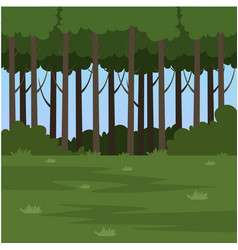 green field and forest summer landscape nature vector image