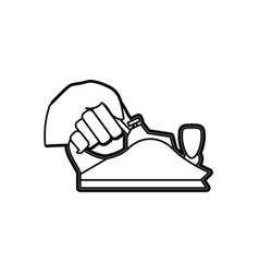 hand holding metal smoothing plane carpentry tool vector image vector image