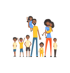 Happy black family with many children portrait all vector
