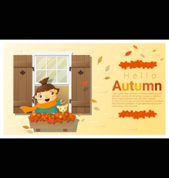 Hello autumn background with little girl vector