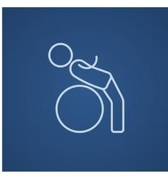 Man doing exercises lying on gym ball line icon vector