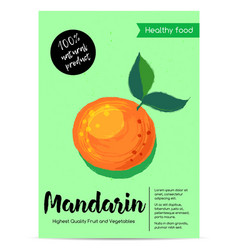 Modern healthy food poster with mandarin vector