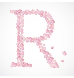 R letter alphabet from pink petals of rose vector