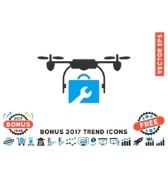 Service drone flat icon with 2017 bonus trend vector