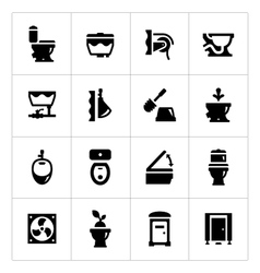 Set icons of toilet vector image vector image
