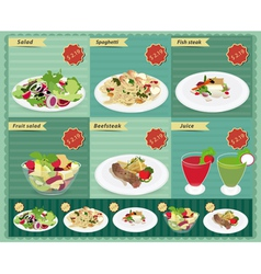 Set of food menu retro style template vector image vector image