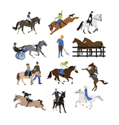 set of horse riders icons flat design vector image vector image