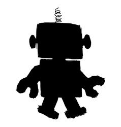 Silhouette of robot vector