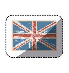 Sticker flag united kingdom with opaque grunge vector