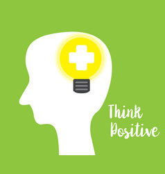 Think positive concept green background vector