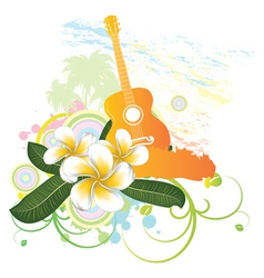 Tropical background with guitar vector image