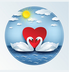 Valentine day background with 3d swan and heart vector